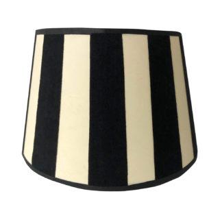 Lampenschirm schwarz beige gestreift Stoff Samt rund edel schwarz weiß gestreift 20 cm