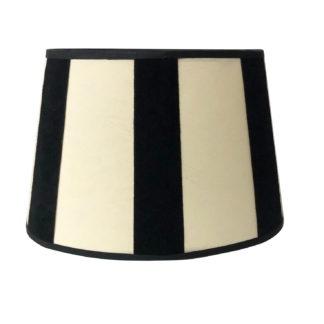 Lampenschirm oval schwarz beige gestreift Stoff Samt oval edel schwarz weiß gestreift 20 cm Licht klassisch modern
