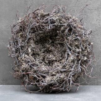Naturkranz Nest Osternest Moos Äste Zweige Ostern Osterdekoration Moos Kranz Mooskranz Rebenkranz grau weiß gekalkt
