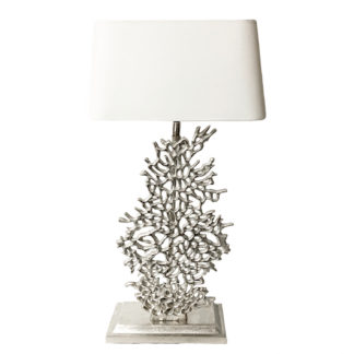 Tischlampe Koralle silber Metall Aluminium Nickel Finish Lampenfuß Koralle silber Metall Sommer Dekoration maritim mediterran
