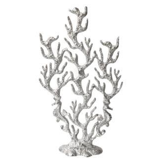 Dekofigur Koralle silber Aluminium Metall auf Fuß Ständer Koralle mit Seepferdchen 49 cm Deko-Objekt Koralle mit Seepferdchen Sommer Koralle Meer Dekoration Sommerdekoration Strand Strandgut Meerestiere Deko-Objekt Skulptur Koralle
