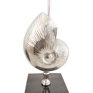 Tischlampe Muschel silber mit schwarzem Fuß edel 50 cm Colmore