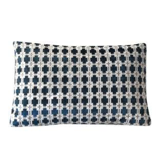 Kissen Samtkissen grau blau Samt mit Muster länglich und quadratisch von Steen design edles Kissen Samtkissen Velourkissen edel Deko-Kissen blau grau