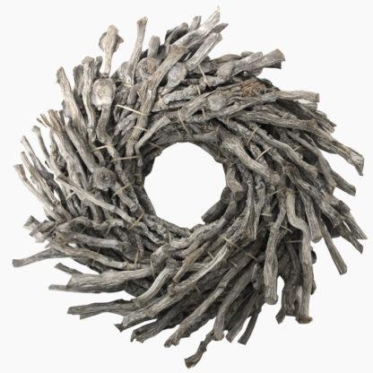 Rebenkranz grau gekalkt Naturkranz Wurzelkranz Grau Türkranz Tischkranz grau gekalkt Wandkranz Tischdekoration