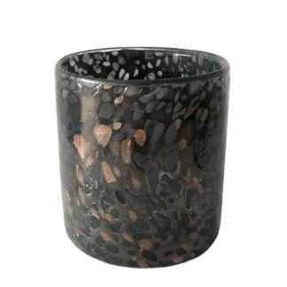 Teelichthalter Teelicht grau bronze aus dickes Glas Farbglas durchgefärbt mit goldglitter von Kaheku Tischteelicht Zinnia grau Tischdekoration Licht