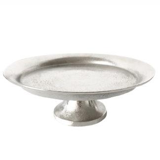 Etagere Konfektschale silber Schale Teller mit Fuß silber Aluminium Metall Keksteller Kontaktschale Tafelaufsatz silber für Pralinen und Kekse kleine Kuchen Tischdekoration