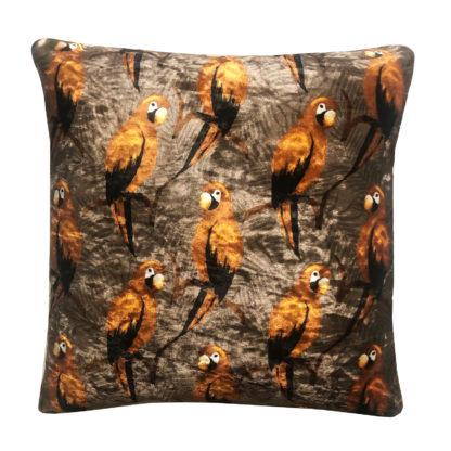 Kissen Papagei Orange rost bronze Khaki Samt Edel Kissen mit Feder Inlett Dschungel Exotik Dekoration Safari Dekolieblinge
