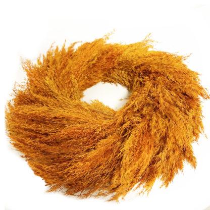 Kranz Naturkranz Gräser Sträucher orange Rost Kupfer Koralle Ton Türkranz Wandkranz Dekokranz aus Gräser rost orange bronze Ton