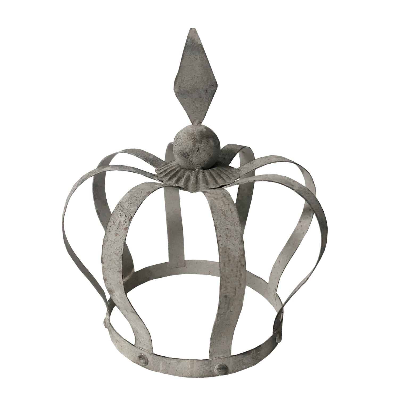 Krone grau 27cm Gartenkrone Dekoration Rankgerüst Vintage Shabby