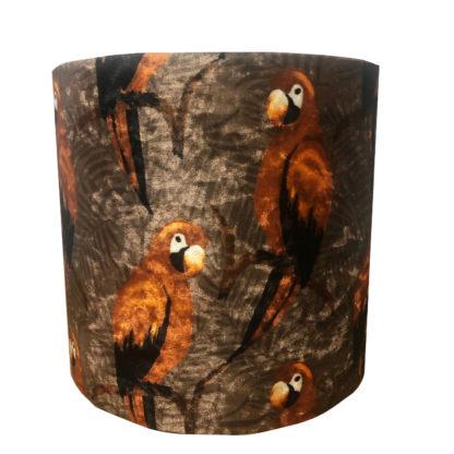 Lampenschirm Papagei orange rost bronze kupfer khaki Samt Lampenschirm Dschungel Palmen Papagei Exotik Safari Stil Dekoration Luxus
