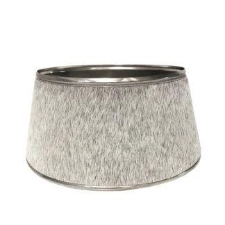 Lampenschirm Kuhfell grau Metall echt Leder grau Lampenschirm Metall chrom Nickel silber grau für Tischlampen edel Chalet Stil Landhaus Hüttenstil Dekoration Kuhfell