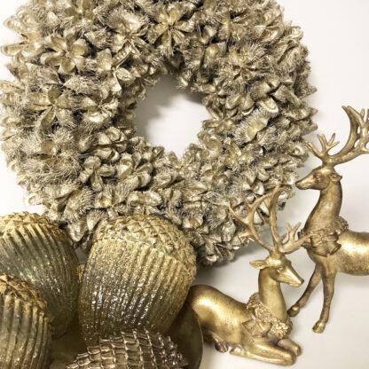 Kranz Naturkranz Dekokranz silber platinum gold aus Kartoos getrockneten Kastanien Türkranz Wandkranz Tischkranz silber Dekolieblinge Dekoration Weihnachtskranz Herbstkranz Jubliläumskranz edel