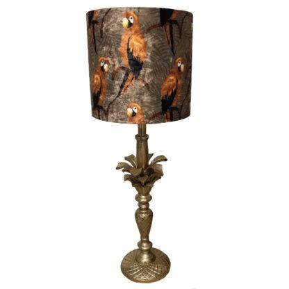 Tischlampe bronze Palme mit Lampenschirm Papagei Palme orange Rost Khaki Dschungel Safari Papageien im Dschungel Samt