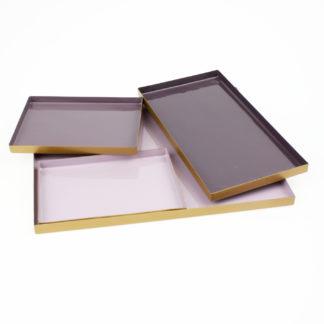 Tablett rosa lila Flieder 4er Set lasiert Metall Serviertablett Dekotablett in rosa Tönen Dekoration Tablett