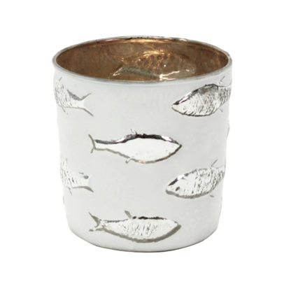 Teelichthalter Fisch Motiv weiß silber Fische Glas Windlicht silber Fische von Voss Sommer Teelichter Sommerdekoration Meerestiere Strand Meer Dekoration maritim Mediterran Dekolieblinge