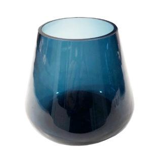 TEELICHTHALTER WINDLICHT BLAU RUND SCHWERES DICKES GLAS KERZENLICHT TEELICHT BLAU LICHTSCHEIN