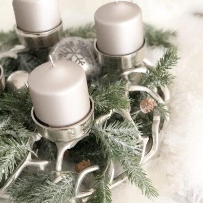 Kranz silber Aluminium Weihnachtskranz silber Metall Adventskranz Äste Kranz shabby chic 4flammig für 4 Kerzen