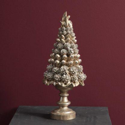 Deko Tanne Tannenbaum champagner gold Dekotannenbaum 42 cm Weihnachtsdekoration Tanne Zapfen Eichel gold champagner von Werner Voss