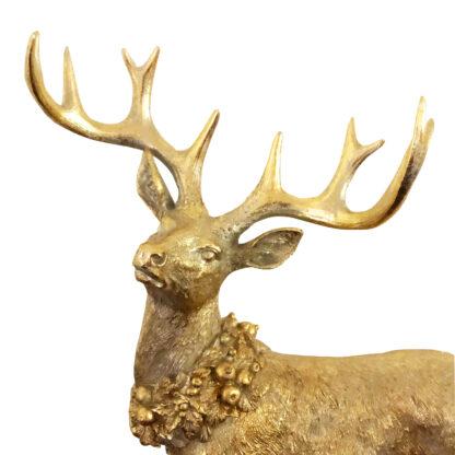 Hirsch gold mit Kranz Dekofigur Hirsch Hirschfigur gold Glitter mit Kranz Jäger Jagd Hirsche im Wald Weihnachtsdekoration