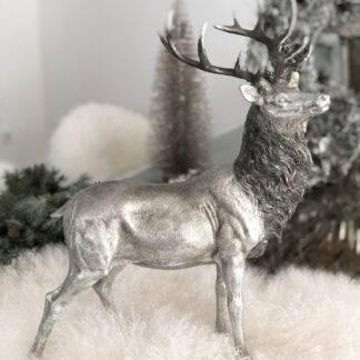 Jäger Wald Winter Herbst und Winterdekoration Weihnachtsdekoration silber Hirsch