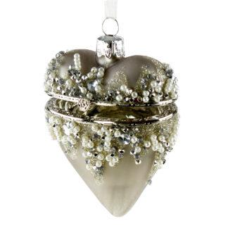 Glasherz Herz Herzhänger silber Glitter mit Strass und Perlen zum Öffnen Schmuck Weihnachtsschmuck Baumschmuck edles Herz Weihnachtsdekoration Dekolieblinge