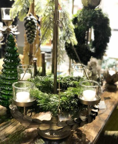 Moderner Adventskranz silber bronze Metall hängender Kranz aus Blättern Adventskranz Weihnachtskranz Weihnachtsbaum für 4 Kerzen hängender Baum Kranz Adventskranz auf Fuß Weihnachten Weihnachtsdekoration hängender Blätterkranz