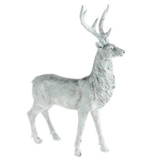 Hirsch Hirschfigur weiß beige Glimmer Polyresin edel 37 cm groß edel Hirsch Hirschgeweih weiß stehend Jagd Weihnachten Herbst Winter Jäger Reh Rentier