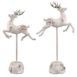 Springender Hirsch weiß glitter antik Hirschfigur auf Fuß weiß Hirschfiguren antik weiß auf Ständer weiß antik Glitter 2er Set