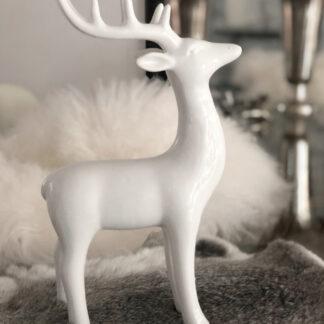 Hirsch weiß Porzellan Keramik glasiert Hirschfigur Dekofigur weiß