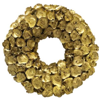 Kranz gold Naturkranz gold Glitter Dekokranz Kokos Blume Kokos Blüten Knospe Türkranz Weihnachtskranz Osterkranz Herbstkranz gold Glitter deluxe finish rund
