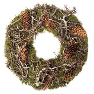 Naturkranz Mooskranz Herbstkranz und Weihnachtskranz natur grün Moos Tannenzapfen Äste Naturkranz mit Tannenzapfen und Äste Grabkranz