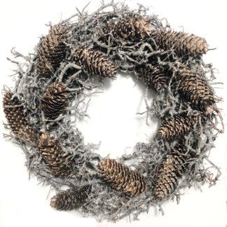 Naturkranz grau Glitter aus Bonsai Ästen und Tannenzweigen Herbstkranz Weihnachtskranz Kranz grau weiß beige Shabby chic Dekolieblinge