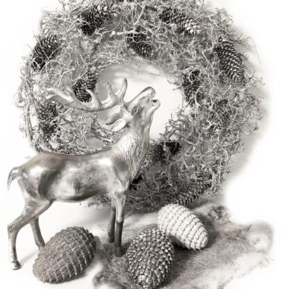 Naturkranz silber Glitter aus Bonsai Ästen und Tannenzweigen Herbstkranz Weihnachtskranz Kranz silber Glitter Dekolieblinge