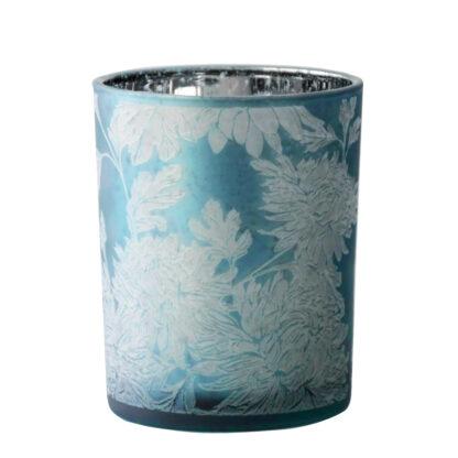 Teelicht blau silber weiß Blumenmotiv Flower dickes Glas von Cor Mulder Teelicht blau Windlicht Teelicht blau weiß Sommer Blume Frühling