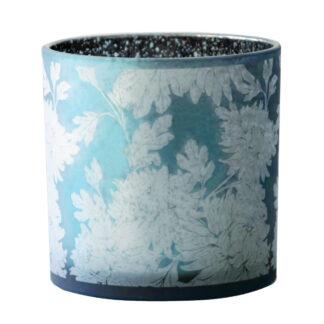 Teelichthalter Teelicht Windlicht blau silber smoke weiß Flower Blumenmotiv dickes Glas von Cor Mulder Teelicht blau