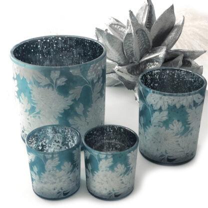 Teelichthalter Teelicht Windlicht blau silber weiß Flower Blumenmotiv dickes Glas von Cor Mulder Teelicht blau