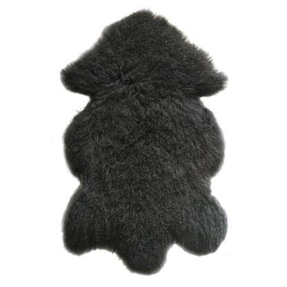 Kissen Tibet Lammfell dunkel grau anthrazit mongolisches Schaffell echt Fell super weich anthrazit schwarz dunkel grau weich