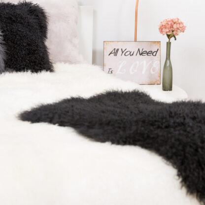 Tibet Lammfell dunkel grau anthrazit mongolisches Schaffell echt Fell super weich anthrazit schwarz dunkel grau weich