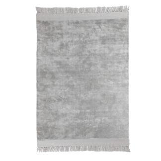 Viskose Teppich hell grau sehr weich und edel 100% Viskose mit Fransen