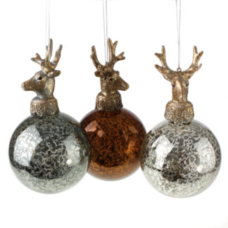 Glaskugel Hirschkopf Weihnachtskugel Glas Hirschgeweih Hirsch 3er Set Weihnachtsschmuck Baumschmuck Hirsch Dekoration Weihnachtsdekoration braun silber grau