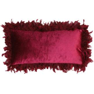 Kissen rot Bordeaux rot Samtkissen edel Luxus mit echten Federn Kissen mit Federbordüre bordeaux Weihnachtskissen Kuschelkissen rot Weihnachtsdekoration