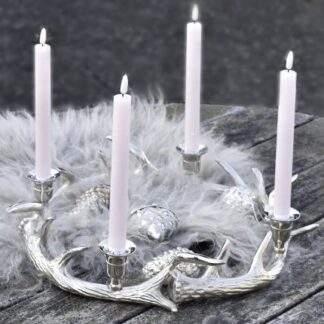 Kranz Hirschgeweih silber Kerzenleuchter Kerzenständer für Stabkerzen 4 flaumig XL 45 cm silber Metall Adventskranz silber Hirschgeweih