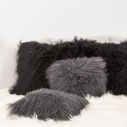 Kissen Tibet Lammfell dunkel grau anthrazit mongolisches Schaffell echt Fell super weich anthrazit schwarz dunkel grau Kuschelkissen weich