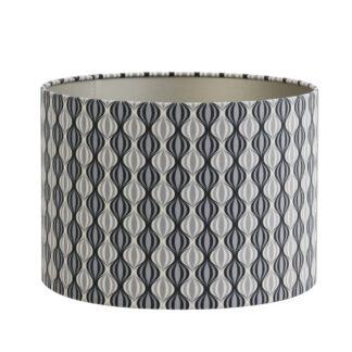 Lampenschirm schwarz grau beige Vintage Trellis rund modern Lampenschirm Vintage Stil