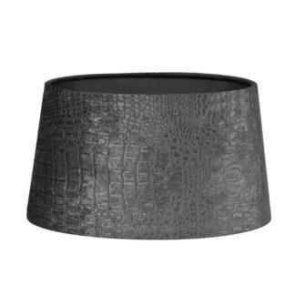 Lampenschirm Kroko Samt grau stone anthrazit edel oval 25x15x15 cm Lampenschirm grau