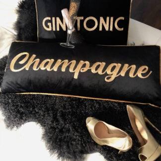Kissen Samt Kissen schwarz gold mit bestickter Aufschrift Champagne gold XXL lang 80 cm Luxus Kissen Glamour Kissen Samtkissen schwarz gold