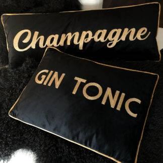 Kissen Samt Kissen schwarz gold mit bestickter Aufschrift Champagne und Gin Tonic gold XXL lang 80 cm Luxus Kissen Glamour Kissen Samtkissen schwarz gold