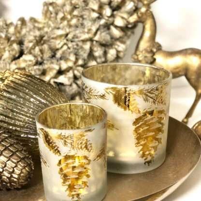 Teelicht Tannenzapfen Pinie Weiß gold Glas Teelichthalter Windlicht Zapfen Pinie Tannenzapfen Eichel gold weiß Kerzenschimmern Weihnachtsdekoration