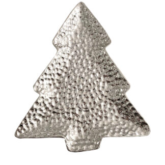 Plätzchenteller Tannenbaum Weihnachtssteller Schale in Form eines Tannenbaums silber Keramik Tischdekoration Tannenbaum