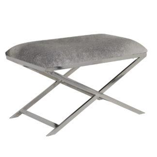 Hocker Sitzhocker Kuhfell Sitzgelegenheit HOCKER Sitzhocker Kuhfell Gestell Silber Metall